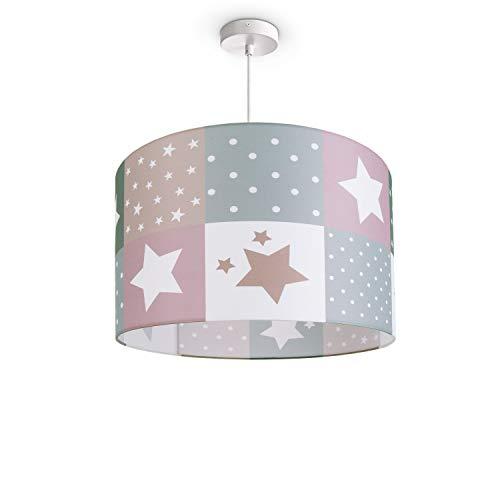 Paco Home Luminaria Infantil De Techo LED Suspendida Dormitorio Infantil Estrella E27, Pantalla de lámpara:Rosa (Ø38 cm), Tipo de lámpara:Lámpara Colgante Blanco