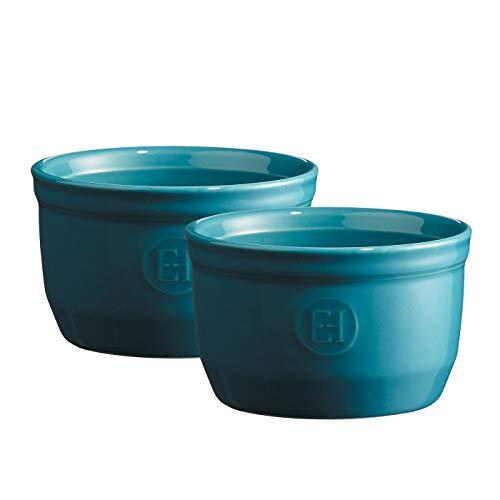 Emile Henry Juego de 2 ramequín de cerámica azul Mediterráneo de 8.5 oz # 10