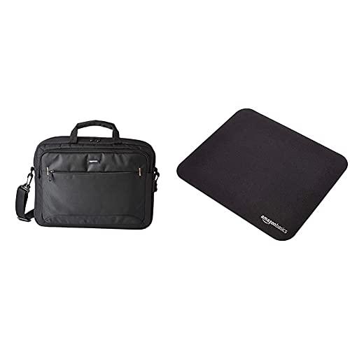 Amazon Basics- kompakte Laptoptasche, Umhängetasche/Tragetasche mit Taschen zur Aufbewahrung von Zubehör, für Laptops bis zu 15,6 Zoll (40 cm), Schwarz, 1 Stück & Gaming-Mauspad