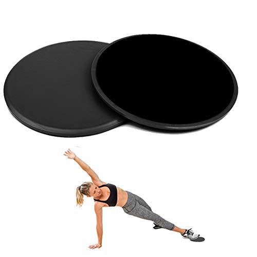 FEimaX Core Sliders de Ejercicio 2 x Doble Cara Discos Deslizantes para Abdominales y Piernas, Uso en Alfombra y Pisos Duros, Core Disco de Fuerza para Hogar, Yoga, Pilates (Negro)