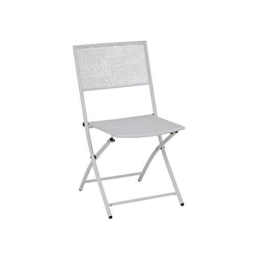 greemotion Vouwstoel Outdoor Mykonos – Opvouwbare Stoelen Metaal in Wit – Patio of Deck Stoelen voor Buiten – Balkon, Terras, Tuin – Tuinmeubelen