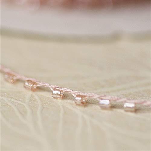 HUIJUNWENTI 1M-Qualitäts-Rosa-Spitze-Kristall-Perlen Sequin Stoff DIY Nähen Perlen verziert Band Kragen Cord Brautkleid Guipure-Dekor