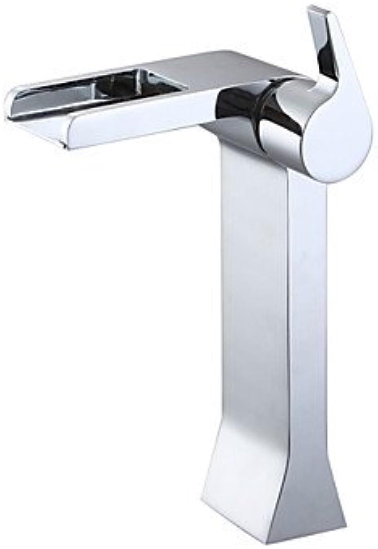 BiuTeFang Basin Tap Chrome Finish Waterfall Single Handle Tall Bathroom Sink Faucet Bathroom Faucet Basin Mixer Tap