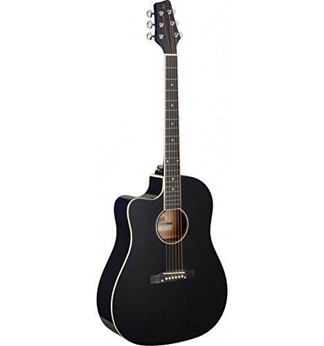 Stagg SA35 DSCE-BK LH elektro-akoestische gitaar voor linkshandigen, zwart