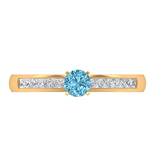 Rosec Jewels 14 quilates oro blanco redonda princess-shape H-I Blue Diamond Aquamarine