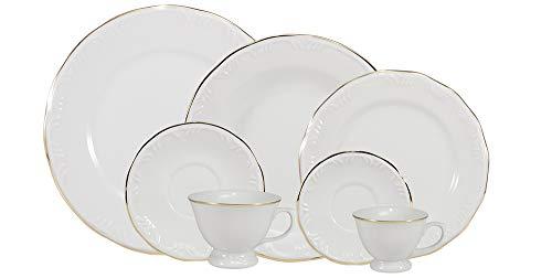 Serviço de Jantar Chá Café 42 peças em Porcelana com Filete em Ouro. Modelo Redondo com Relevo Pomerode. Decoração Filete Ouro. Fabricado pela Porcelana Schmidt.