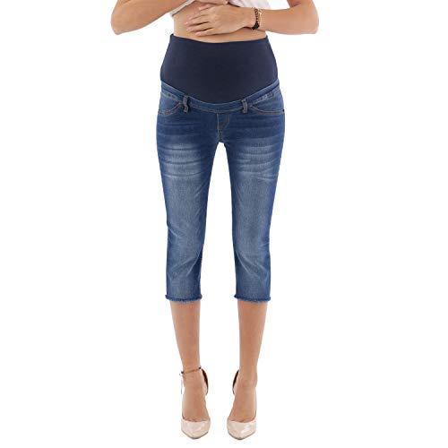 MAMAJEANS Jeans Premaman 3/4, Fondo Sfrangiato, vestibilità Slim, Elastico e Comodo - Made in Italy (S, Scuro)