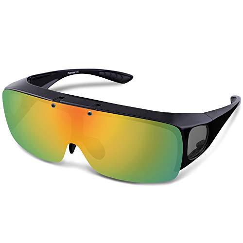 ARay 偏光サングラス オーバーサングラス 跳ね上げ式 UV400 紫外線カット (イエロー・ミラー)