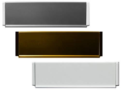 Aluminium-Außen Briefeinwurf=305 x 78 mm-Briefklappe-Briefkasten-Briefschlitz-TOP (305 x 78 mm, Alu. silber Kanten schwarz)