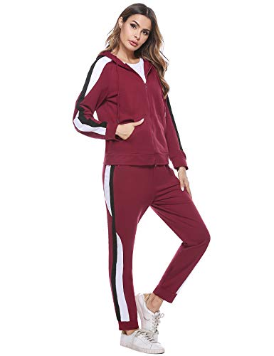 Hawiton Damen Jogginganzug Freizeitanzug Baumwolle Sportanzug Frauen Trainingsanzug mit Streifen Taschen Fitnessanzug für Running Yoga Gym Wandern, Farbe: Weinrot, Gr.XL