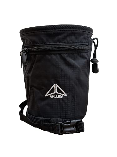 Valley Climbing Chalk Bag with Belt, Carabiner Clip, Brush Loop and Zippered Pockets for Climbing, Bouldering, Gymnastics, Cross...
