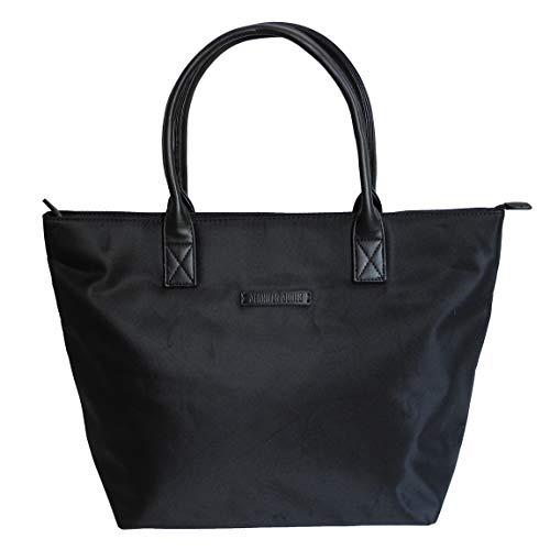 Damen Shopper von Jennifer Jones - sehr leichteHandtasche Schultertasche Tragetasche Damentasche (Schwarz) - präsentiert von ZMOKA®