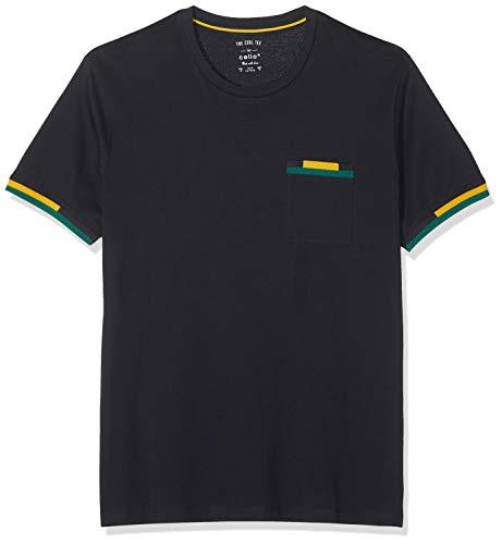 Celio Peribi Camiseta, Azul (Navy Navy), Medium para Hombre