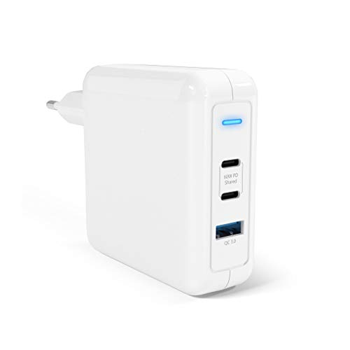 60W USB-C PD Ladegerät, 60W USB-C Ladegerät mit 2 USB-C Power Delivery 3.0 & 1 USB-A Port QC 3.0 für MacBook Pro/Air, iPad Pro, iPhone XR/XS/Max/X / 8, Pixel, Galaxy und mehr