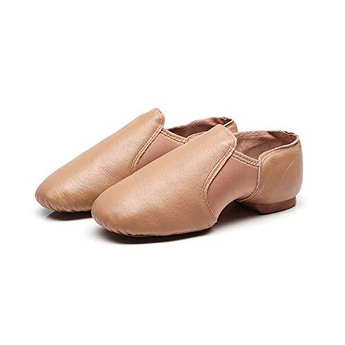 meng Kinder Erwachsene Ballettschuhe Ballettschläppchen Mit Geteilter Ledersohle (Color : Brown, Size : 30)