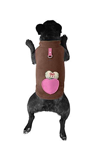 Lil Piggy Hunde-Pullover, Fleece, für kleine und mittelgroße Hunde, mit Kotbeutel in Tasche