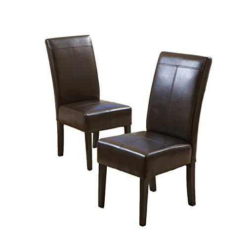Christopher Knight Home Chocolate Brown T-Stitch Leather Dining Chair, 2-Pack