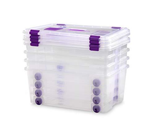 TODO HOGAR - Caja Plástico Almacenaje Grandes Multiusos con Asa y Ruedas - Medidas 585 x 390 x 250 - Capacidad de 42 litros (4)
