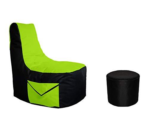 Lacasa Gaming Sitzsack 85x80x35 mit Seitentasche und Hocker Erwachsene Sessel XXL kompatibel mit PS4 XboxOne Nintendo Switch Outdoor Indoor Bodenkissen Sitzkissen