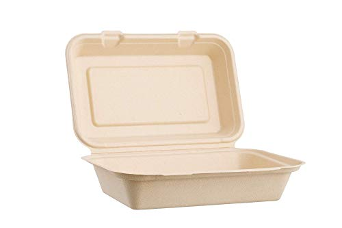 Harvest Pack 9 X 6 Disposable Single Compartment Clamshell - Eco Containers Togo Food Microwavable Hinged Container Boxes - Restaurant Carryout Lunch Meal Takeout Storage Food Service [50 Count]