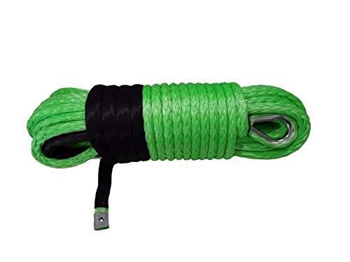 Cuerda de remolque Cuerda de cabrestante sintético verde 12 mm * 30M, cable de cabrestante de reemplazo, cuerda de plasma, accesorios de cabrestón ATV, cable de cabrestante recubierto Cuerda de cabres
