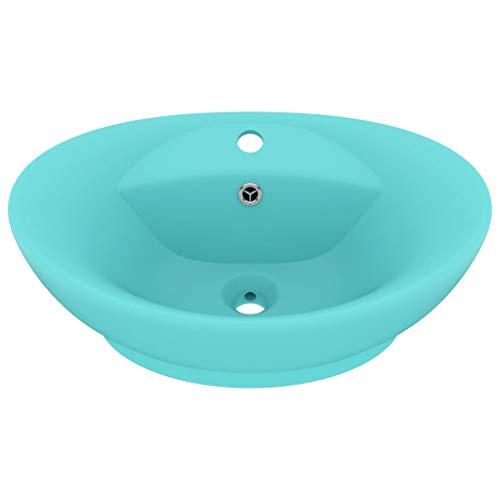 vidaXL Luxus Waschbecken mit Überlauf Waschschale Aufsatzwaschbecken Waschtisch Waschplatz Handwaschbecken Oval Matt Hellgrün 58,5x39cm Keramik