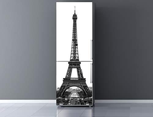 Oedim Vinilo para Frigorífico Torre Eiffel Blanco y Negro 185x70cm | Adhesivo Resistente y Económico | Pegatina Adhesiva Decorativa de Diseño Elegante
