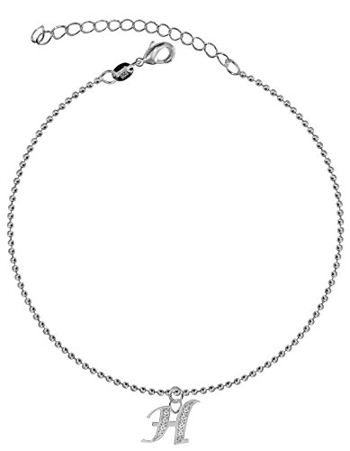 Dangle Anklet – Silver Letter H – Easy to Wear, Suitable for Everyday Use – We Use the Best Quality CZ Crystals - 21 cm with 5 cm Extension