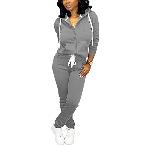 Nimsruc Two Piece Outfits for Women Jogging Suits Casual Tracksuit Long Sleeve Sweatsuit Pants Sets Dark Gray M