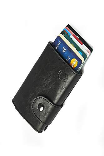 NeroAvorio Tarjetero para Tarjetas de Crédito, Bloqueo RFID, Monedero Fino Aluminio y Cuero, Negro, Minimalista, Sistema Pop-UP para 6 Tarjetas, con Compartimento Interior para Guardar Billetes