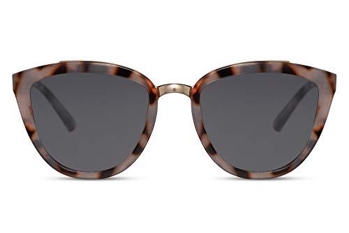 Cheapass Sonnenbrillen Phantasie Cat Eye Brille Grau Leopard mit dunklen Gläsern UV400 Geschützte Damen