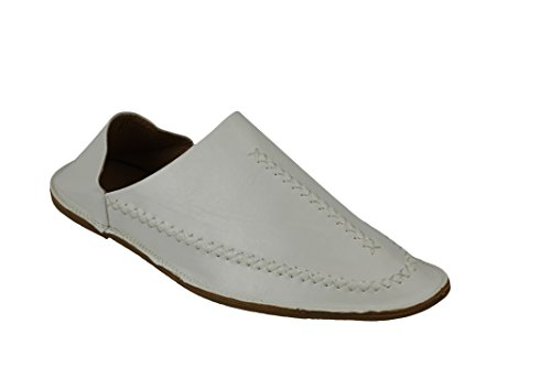 Marokkanische Babouche für Herren, Kunstleder, Slipper, spitz zulaufende Schuhe, zurückgefaltet, Schwarz / Weiß / Weinrot, Weiß - weiß - Größe: 44 EU