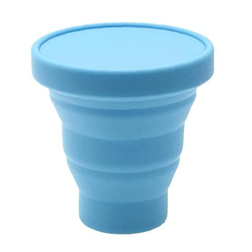 finebrand Taza Plegable Plegable Plegable con Tapas De 200 Ml Taza De Consumición, Taza De Café Portátil para Acampar Senderismo Picnic Viaje Azul Herramienta De Cocina Taza Multifuncional