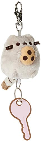 """GUND Pusheen with Cookie Plush Retractable Keychain, Gray, 2.5"""""""
