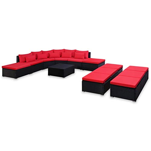 Festnight 9-TLG. Garten-Sofagarnitur | Gartensofa-Set | | Polyrattan Lounge Set | Lounge Sofa Garnitur | Rattan Gartenmöbel Gartenset | Garten Sitzgruppe | Gartengarnitur | Rot Poly Rattan