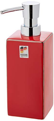 RIDDER Chichi - Dispenser per Sapone in Ceramica, Colore: Rosso 6,5 x 6,5 x 19,5 cm