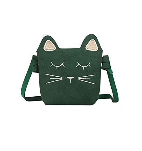Kleine Mädchen Geldbörse Zum Umhängen Süße Katze Schultertasche Umhängetasche PU Leder Geldbeutel Purse Handtasche Tasche Shoulder Bag für Kinder Mädchen - Small Size 11 x 13 x 4 cm (Grün)