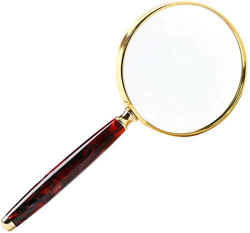 Lupa de mano de metal de gran diámetro viejo lectura lupa estudiante niños 20 veces proyector HD extendido gafas