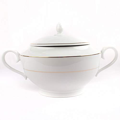 FranquiHOgar Sopera de Porcelana con Tapa y Asas, Bowl para sopas, cremas Blanca con Filo de Oro | Bremen