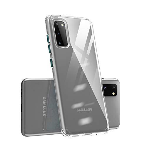 FANFO® Funda para Samsung Galaxy S20 5G – Suave Flexible Silicona Teléfono Móvil – Essential Zero TPU Transparente Carcasa con cámara Protección (Transparente + Verde Oscuro)