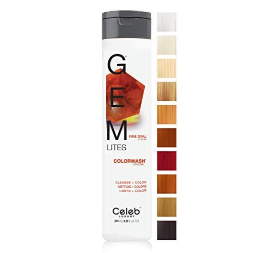 Celeb Luxury Gem Lites Colorwash, Professional Semi-Permanent Hair Color Depositing Shampoo, Fire...