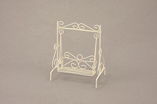 Unbekannt Miniatur Modell Minigarten, Hollywoodschaukel, weiß Höhe ca. 15cm