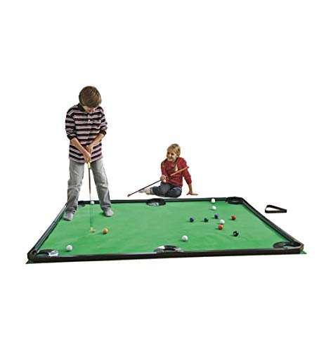 HearthSong Golf Pool Indoor Family Game-Includes Two Golf Clubs, 16 Golf Balls, Six Pockets, Green Mat, and Rails