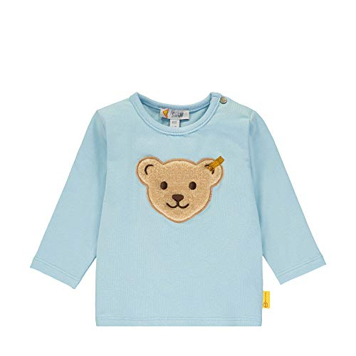 Steiff Baby-Jungen mit Teddybärmotiv Langarmshirt, Blau (Winter Sky 3023), 50 (Herstellergröße: 050)