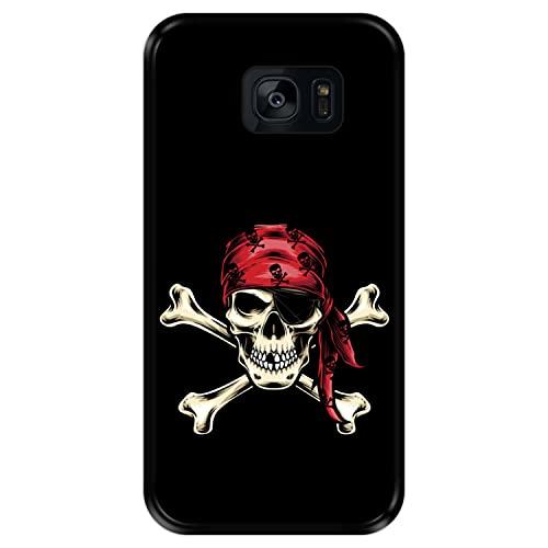 Hapdey Funda Negra para [ Samsung Galaxy S7 Edge ] diseño [ Calavera Pirata ] Carcasa Silicona Flexible TPU