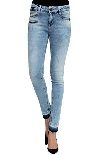 Zhrill Damen Jeanshose Röhrenjeans 5 Pocket Vintage Skinny Fit Mia Destroyed, Farbe:W7031 - Shift Blue, Größe:W27 / L30