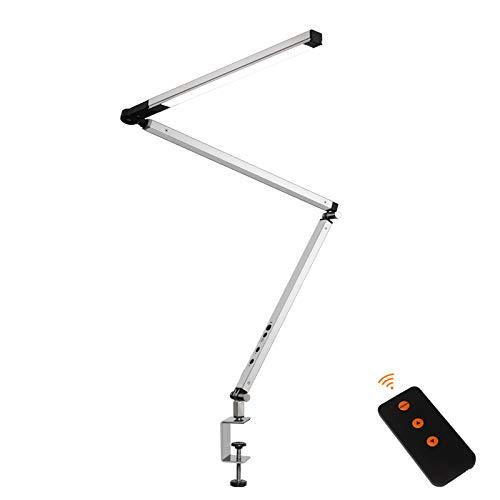 QJUZO 9W Lámpara de Mesa Abrazadera Regulable con Control Remoto e Táctil Lámpara de Escritorio con Pinza aluminio Brazo Oscilante Lámpara de Arquitectura para Oficina, con Cable de 1,8 m,Plata