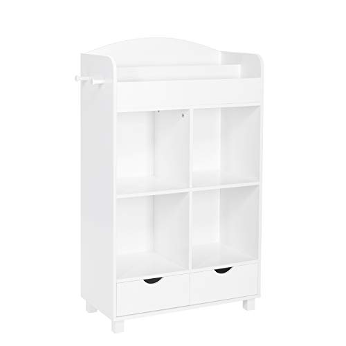 RiverRidge 02-162 Home Book Nook Collection Kids Cubby Bookrack Storage Cabinet, White