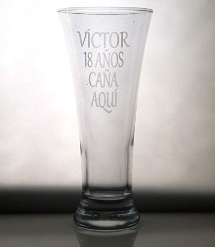 Arte-Deco Vaso DE Cerveza Grabado y Personalizado Nombre CUMPLEAÑOS. Regalo día del Padre, cumpleaños, Aniversario, jubilación, para Hombre o Mujer. Regalo práctico, Elegante, Divertido y Original.