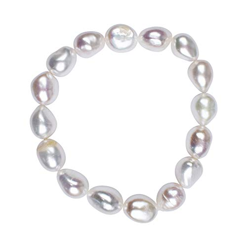Chili Jewels Armband Perle weiß 12mm Nuggets, Creme-weiss, 9 centimeters, 1 stück